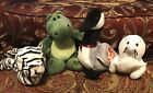 4 TY BEANIE BABIES RETIRED Loose Goose Chompy Alligator SEAMORE Seal BlizzardCat
