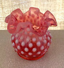 FENTON VINTAGE CRANBERRY OPALESCENT HOBNAIL RUFFLED EDGE ROSE BOWL VASE MINT