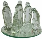 Clear GLASS CHRISTMAS NATIVITY FIGURINES Set of 6 Mary Joseph Jesus  Wise Men