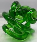 Green Abstract Art Glass Knot Twisted Figurine 35  New