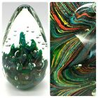 Large Glass Paperweight Multicolor Bubble 75 Tall and Over 5 Lbs Egg Shaped