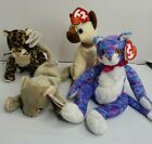 Ty Beanie Babies Lot Of 4 Cats w Tags Sneaky, Scat, Siam, Kooky Vintage Retired