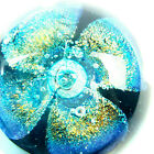 Glass Eye Studio GES 99 RETIRED Blooming FLOWER Blue Gold Paperweight Marked 3