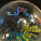 Vintage Controlled Bubble Paperweight Art Glass Butterfly Flower Figural Sphere
