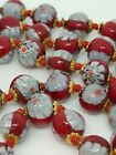 Vintage Venetian Murano Millefiori Art Glass Hand knotted Bead Necklace 255