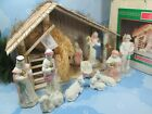 Nativity 13 Pc Wood Stable Pastel Holy Family Kings Shepherds Animals Hay Box