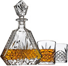 Whiskey Decanter Set with 2 Old Fashioned Whisky Glasses for Liquor Scotch Bourb