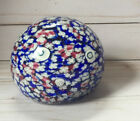 Red  Blue MILLEFIORI Art Glass Floral Paperweight