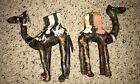 2 Vintage Arabian Camels Hand Stitched Stuffed Leather Figures