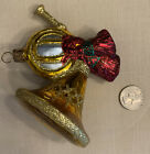 Waterford Blown Glass French Horn Christmas Ornament