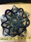 Vintage Murano Hand Blown Art Glass Heavy Candy Bowl Splatter Star Shaped Flower