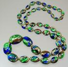 Intense Vintage Art Deco Czech Bohemian Peacock Foiled Glass Bead Necklace