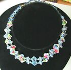 Vintage Murano Venetian Glass Double Strand Necklace Swirls Blue Pink Green