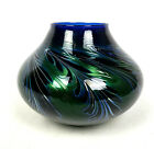 Charles Lotton Pulled Feather Vase Cobalt and Deep Green Iridescent Signed 1984