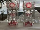 2 Vintage Mantel LUSTRES Cut to Clear Cranberry Red Crystal CANDLE LAMPS HOLDER