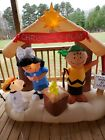 6 ft Peanuts Nativity Play Charlie Brown Lucy Snoopy Woodstock Inflatable Decor