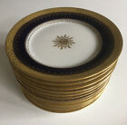 Set 12 Antique Ahrenfeldt Limoges France Cobalt  Gold Encrusted Side Plates
