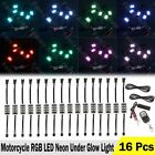 16x RGB LED Motorcycle Under Glow Light Kit Remote Control Multi Color Neon