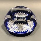BACCARAT FRANCE VINTAGE Cut Crystal Paperweight Cobalt Multifacet TOP COLLECTOR