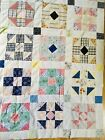 Vintage Hand Stitched Patchwork Quilt Top Bedspread Country Farmhouse Shabby