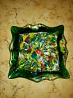Vintage Hand Blown Glass Swirl Candy Dish Ashtray Sparkle