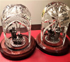 PAIR WATERFORD IRELAND Nativity Pewter WisemenHoly Family Crystal Domes w Boxes