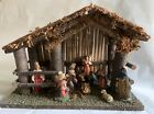 Vintage 10 Figure Nativity Set All Attached to Stable Creche  Made in Italy