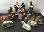 Vintage Paper Mache Western Germany US Zone 11 Pc Nativity Christmas Set