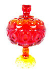 LE Smith Ruby Red Moon  Stars Glass Footed Compote Candy Dish Lidded