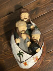 VINTAGE HAND CARVED WOOD HAND PAINTED THREE WISE MEN CHRISTMAS NATIVITY