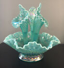 Rare Fenton Art Glass Aqua Opalescent Iridescent Diamond Lace Epergne Mint Cond