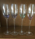 4 Pier 1 One SWIRL p1c44 RED GREEN BLUE PURPLE Champagne Flutes Glasses 10