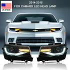 For CHEVROLET CAMARO 2014 2015 LED Headlight DRL Sequential Dual Beam Head Lamp