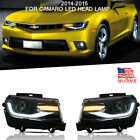 LED RGB Headlights For 2014 2015 Chevrolet Camaro LS LT Projector US Stock