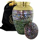 Iridescent Mosaic Cracked Glass Cremation Urns for Human Ashes Adult for Funeral