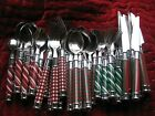 39 pcs Unbranded Stainless Flatware Christmas White Green  Red Plaid Spiral