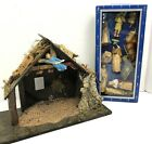 NEW Vintage 12 Piece Plastic Nativity Set  Wood Stable Creche see description