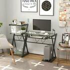 Glass Computer Desk Laptop Table Metal X Frame Workstation with Shelves  Tray