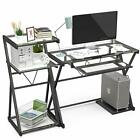Glass Computer Desk Laptop Table Metal X Frame Workstation with Keyboard Tray