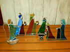 Vintage Stained Glass Nativity Set Christmas Birth of Jesus Handmade 7 Pieces