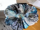 Serving Glass Bowl Tie Dye Black White Gray Blue w Accents Of Gold Very Unique
