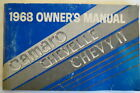 1968 OWNERS MANUAL CHEVROLET CAMARO CHEVELLE CHEVY II First Edition