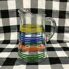 Vintage Primary Color Stripes Pitcher Ice Lip Glass 2 Quarts Rainbow Mid Century