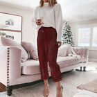 Women Sequin Pants Drawstring Elastic Waist Joggers Lady Party Glitter Trousers