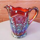 Indiana Glass Iridescent Red Carnival Heirloom Paneled Daisy 46 oz Pitcher