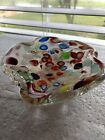 Vintage Blown Art Glass Candy Dish Bowl Clear Millefiori Gold Dust Heavy
