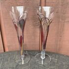 Set Of 2 Gloria Ferrer Tall Clear Champagne Flutes Hand Embossed Colors NEW
