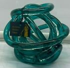 Teal Blue Glass Abstract Art Glass Knot Twisted Figurine 6  Blown Glass New