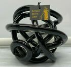 black Abstract Art Glass Knot Twisted Figurine 6  x 55 Blown Glass New NWT