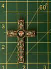 Vintage Micro Mosaic Crucifix Cross Pendant Glass Mosaic Necklace Flowers Italy